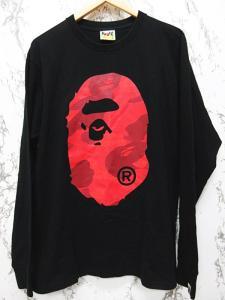 アベイシングエイプ A BATHING APE Tシャツ カットソー 長袖 ロンT ロゴ プリント L 黒 ブラック