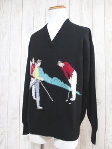 【BALLANTYNE/バランタイン】 長袖 Vネック ゴルフ柄 カシミヤ 100% ニット セーター 46 黒 ブラック スコットランド製 英国