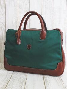 フェリージ Felisi ナイロン レザー ビジネスバッグ ブリーフケース F01-34 ブラウン グリーン カギ付き
