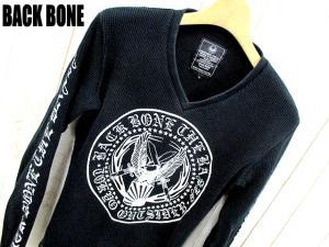 【BACK BONE/バックボーン】 Vネック 鹿の子 ロゴ プリント 長袖 Tシャツ カットソー S ブラック