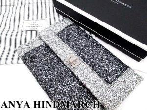 未使用品 【ANYA HINDMARCH/アニヤハインドマーチ】 Valorie Boarder Silver Glitter クラッチバッグ パーティーバッグ シルバー