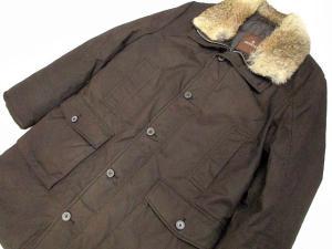 モンクレール MONCLER コート ジャケット ダウン ミリタリー ファー リアル 茶色 2 美品※M-3264