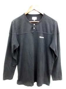シュプリーム SUPREME Tシャツ ヘンリーネック ロゴ メッシュ 長袖 L 黒 /ST689 ★★