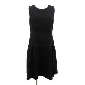 フォクシー FOXEY ワンピース ドレス スピーガ ノースリーブ ロング ロゴプレート ウール 42 XL 黒の買取実績