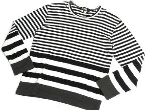 【COMME des GACONS BLACK/コムデギャルソンブラック】 Tシャツ カットソー 切替し 白 黒 グレー ●