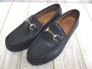 グッチ GUCCI レザー ローファー シューズ 36 黒 靴 ブラック レディース