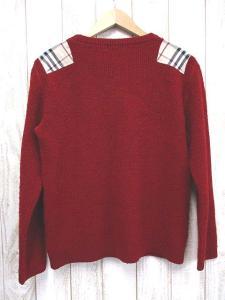 バーバリーブラックレーベル BURBERRY BLACK LABEL ホース刺繍 ノバチェック ニットセーター 2 赤 正規品 三陽商会 長袖 日本製 ウール メンズの買取実績