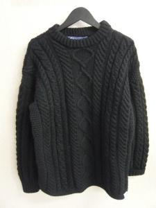 ベドウィン BEDWIN ガンジーウーレンズ アラン ニット セーター 長袖 黒 サイズ38