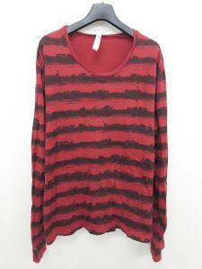 グラム glamb Tシャツ サファリボーダー 赤 黒 長袖 3 ☆