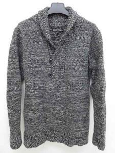 5351プールオム 5351 POUR LES HOMMES セーター ミックスニット ショールカラー 黒 白 長袖 2 ☆