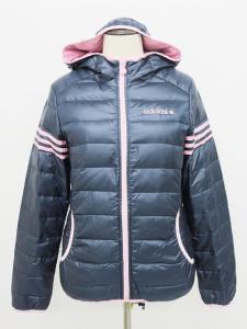 アディダス adidas 国内正規 ダウンジャケット パーカー フェザー混 ロゴ刺繍 ライン ネイビー ピンク S TY105 レディースの買取実績