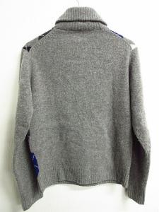 【BARACUTA/バラクータ】 アーガイル リブ ウール ショールカラー 長袖ニット セーター 灰×黒×青×白40 ●M664の買取実績