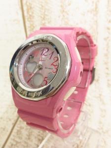 【Baby-G/ベビージー】 CASIO カシオ 腕時計 ジェミーダイアル アナデジ デイト カレンダー クォーツ式 2針 ハート ラバー ピンク シルバー 5070 ●T3913