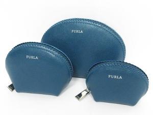 美品 フルラ FURLA ポーチ 小物入れ 3点セット レザー 緑系 青系の買取実績