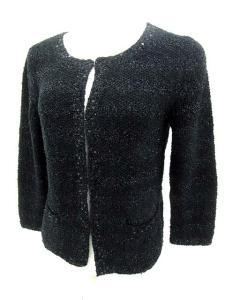 未使用品 アナイ ANAYI カーディガン ボーダー 七分袖 スパンコール 装飾 黒 size 38 161124 レディース