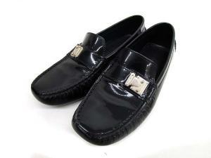 ルイヴィトン LOUIS VUITTON エナメル ドライビングシューズ ローファー 黒 ブラック 36 靴 イタリア製