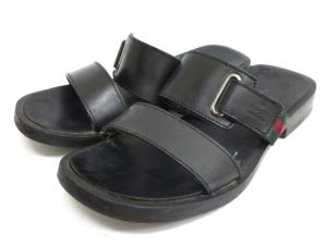 グッチ GUCCI レザー×ウッド サンダル 41 1/2 約26.5cm 黒 【靴夏】