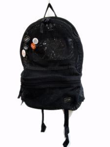 ポーター PORTER リュック メッシュ 黒 ブラック 缶バッジ付き ユニセックス