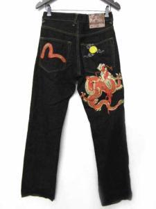エヴィス EVISU パンツ デニム 刺繍 ボタンフライ ワイド 30 黒 ブラック P2943sの買取実績