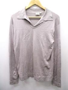 アルマーニ コレツィオーニ ARMANI COLLEZIONI ニット シャツ 長袖 シルク 薄手 48 グレー k6887