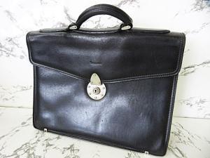 アクアスキュータム AQUASCUTUM ブリーフケース 書類鞄 レザー 革 中チェック柄 黒 ブラック