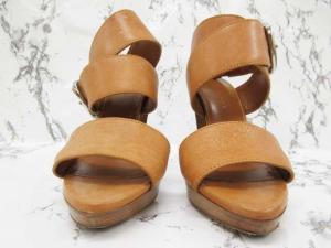 【BALENCIAGA/バレンシアガ】 美品 サンダル 靴 ハイヒール ベルト ストラップ レザー 革 グラディエーター ライトブラウン 茶色系 35 1/2の買取実績
