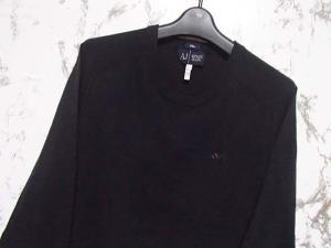 アルマーニ ジーンズ ARMANI JEANS サマー ニット セーター 長袖 薄手 スリム クルーネック バイカラー 黒 ブラック カーキ XL