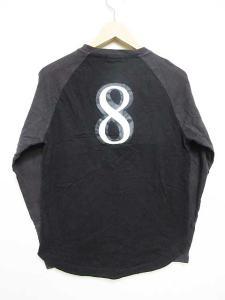 バーバリーブラックレーベル BURBERRY BLACK LABEL Tシャツ カットソー ロンT ラグラン切替 英字ロゴ ワッペン 背番号 長袖 ブラック ブラウン 黒 茶 2 メンズの買取実績