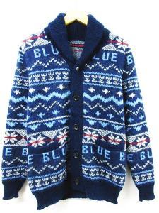 ブルーブルー BLUE BLUE カーディガン カウチン ニット セーター ノルディック ロゴ 1 ブルー 秋冬【フクウロ】
