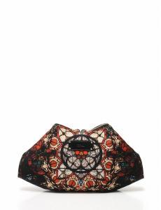 アレキサンダーマックイーン ALEXANDER MCQUEEN デマンタ クラッチバッグ ファスナー式 保存袋付き サテン レザー 黒 白 赤