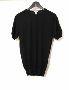 バランタイン BALLANTYNE ニット セーター 黒 ブラック S トップス 半袖 44 カシミヤ100% 無地 丸首
