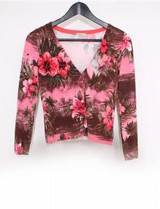 アンナモリナーリ ANNA MOLINARI セットアップ カーディガン スカート 赤 ピンク 茶色 I42 D36 レーヨン シルク 花柄