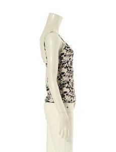 シャネル CHANEL キャミソール ブラウス 白 黒 M トップス 38 シルク ノースリーブ 花柄の買取実績
