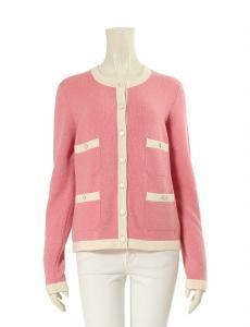 シャネル CHANEL カーディガン ピンク アイボリー L トップス 長袖 44 カシミヤ100% ポケット レディース