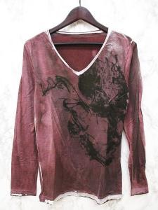 5351プールオム 5351 POUR LES HOMMES Tシャツ カットソー 長袖 Vネック プリント 3 ワインレッド系