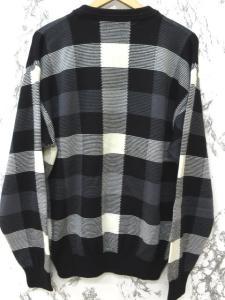 アクアスキュータム AQUASCUTUM GOLF ゴルフ ニット セーター ブロックチェック クルーネック ウール 白×黒 L ◆IY-0064 ◆02の買取実績