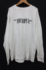 シュプリーム SUPREME Tシャツ 長袖 ミラーロゴ プリント コットン L 白 AA TM6278