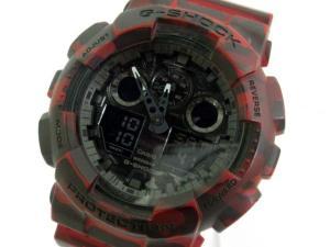ジーショック G-SHOCK GA-100CM 腕時計 ウォッチ カモフラージュ 迷彩 赤 ※HT
