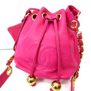 シャネル CHANEL ヴィンテージ 90'S ショルダーバッグ 巾着 キャビアスキン チェーン ココマーク ピンクの買取実績