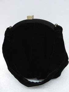 フォクシー FOXEY ポーチ ハンドバッグ ベロア がま口 黒 IBS 0616