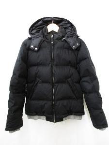 アルマーニ ジーンズ ARMANI JEANS ダウンジャケット フード付き ジップアップ ダウンパック 黒 ブラック グレー L 国内正規 メンズ
