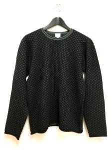アルマーニ コレツィオーニ ARMANI COLLEZIONI 総柄 カシミヤ ニット セーター 長袖 48 ブラック 黒 秋冬 メンズ