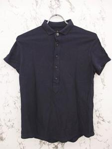 フォーティーファイブアールピーエム 45rpm ポロシャツ 半袖 鹿の子 ボタン装飾 コットン100% 無地 3 紺 ネイビー