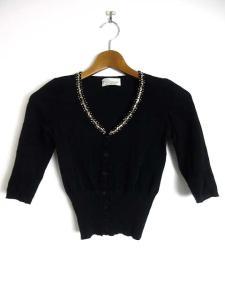 アンナモリナーリ ANNA MOLINARI カーディガン ボレロ ビジュー装飾 ニット 五分袖 黒 /YM10の買取実績