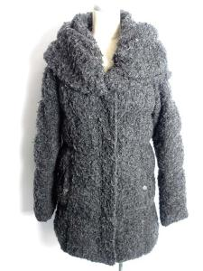 バーニーズニューヨーク BARNEY'S NEWYORK コート ジャケット ダウン 起毛 ミディアム ジップアップ グレー F /YM2