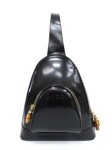グッチ GUCCI バンブー リュック ワンショルダー エナメル 黒 0127 /IC809 レディース