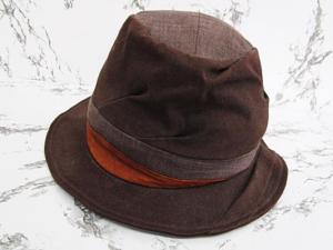 カシラ CA4LA 帽子 ハット 麻混 レザー切替 ブラウン系