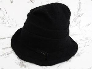 カシラ CA4LA 帽子 ハット ウール モヘア混 バッヂ付 黒 ブラック