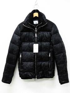未使用品 エーケーエム AKM ダウンジャケット コート スタンドカラー キルティング フェイクレイヤード ダブルジップ 迷彩 タグ付き 黒 M 冬 レディース