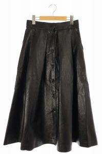 アキラナカ AKIRA NAKA 19AW フェイクレザーフレアスカート ブラックの買取実績